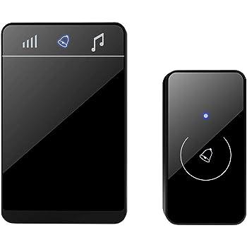 Sonnette sans Fil Exterieur Etanche, LED Tactile Indication, avec Pile sans Prise