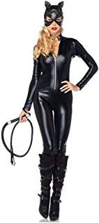 Halloween Costume Patent Leather Cat Girl Neutral Sexy Motorcycle Clothing Stage Performance Cosplay Clothing (Color : Bla...