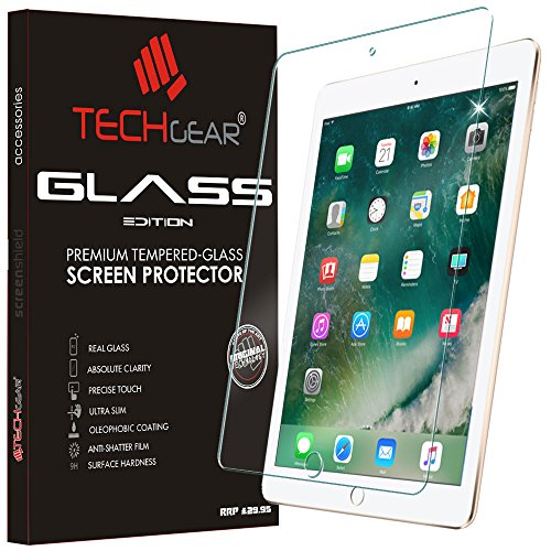 TECHGEAR GLASS Edition for iPad 9.7' (2018/2017, 5th & 6th Generation), iPad Air 1, iPad Air 2 Screen Protector, Genuine Tempered Glass Guard Cover - Apple Pencil Compatible