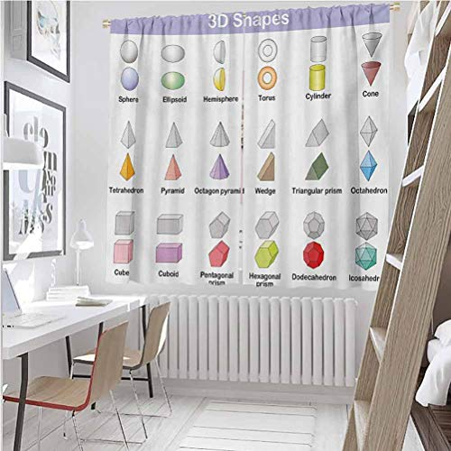 Toopeek Educational Shading insulated curtain Learning the 3D Shapes for Kids Different Geometric Figures Teaching Collection Soundproof shade W52 x L84 Inch Multicolor