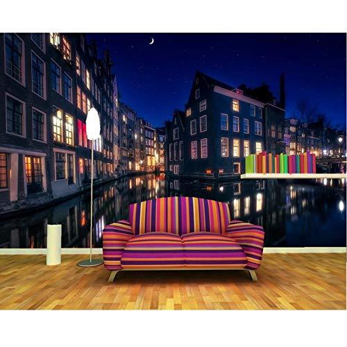 Pmhc muurschildering, Amsterdam case stad rivier, 3D-papier, wandschildering, woonkamer, slaapkamer, personaliseerbaar 450x300cm