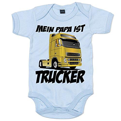 Shirt Happenz Papa's Beruf Ist Trucker Papi's Kleiner Engel Berufung Babybody Babyeinteiler Oeko-TEX ¨ 100 Standard, Farbe:Babyblau (Dusty Blue BZ10);Größe:0-3 Monate