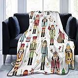 Blanket Nutcracker Christmas Tree Star Fleece Blanket Foldrable Throw Blanket Washable Couch Sofa Fuzzy Blanket Reversible Plush Blanket Beach Blanket for Home Office