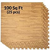 Clevr 100 Sq. Ft EVA Interlocking Foam Mats Flooring, Light Wood Oak Grain Style - (24' x 24', 25 pcs), Protective Flooring for Home Office Playroom Basement Trade Show, 1 Year Warranty