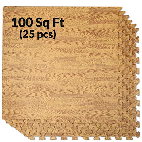 """Clevr 100 Sq. Ft 3/8 Inch Thick Interlocking Foam Mats Flooring, Light Wood Oak Grain Style - (24"""" x 24"""", 25 pcs), Protective Flooring for Home Office Playroom Basement Trade Show, 1 Year Warranty"""