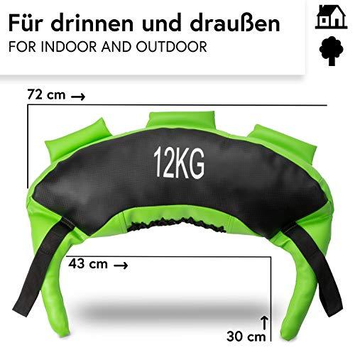 POWRX Bulgarien Gewichts Bag I 5 kg 8 kg 12 kg 17 kg 22 kg I Kunstleder Sandsack für Functional Fitness (12 kg Schwarz/Hellgrün) - 3