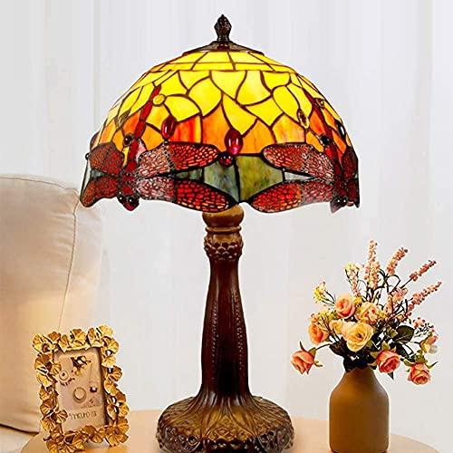 YHQKJ Lámpara de Mesa Tiffany Lámpara, Lámpara de Noche de libélula Creativa Americana, lámpara Decorativa de vidrieras, Novia Sala de Estar de Regalo