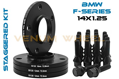 4 Pc 10mm & 12mm Staggered Bmw Black Hub Centric Wheel Spacers 5x120-72.56 H.B - F30 F31 320 328 335 F80 M3 F32 F82 M4 435 F22 F23 228 235 F10 528 535 M5 F11