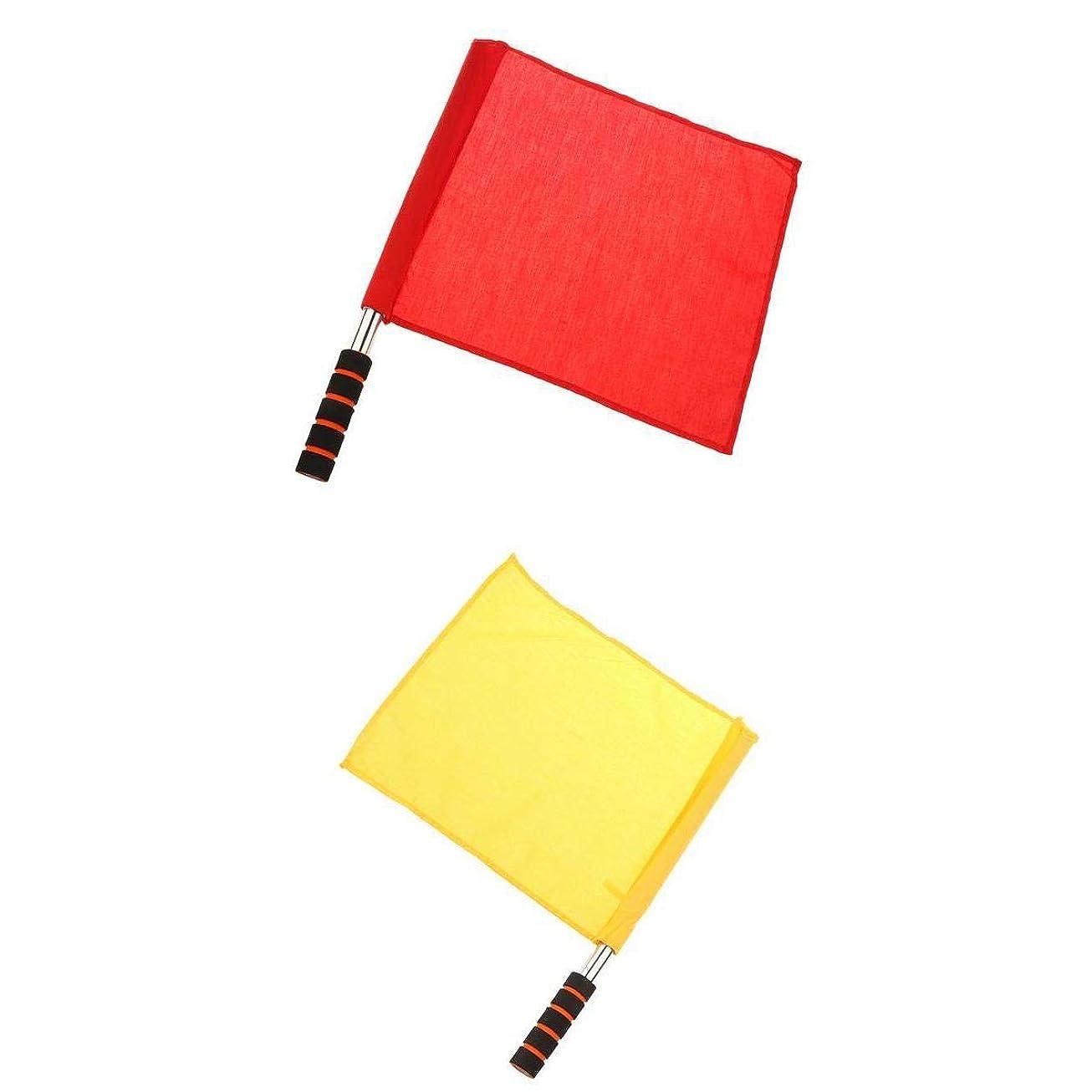 砦マスタード悔い改めるSharplace サッカー旗 審判旗 サッカーフラッグ 競技 試合旗 サッカー旗サッカー 赤 黄 37×32.7 cm 2個セット