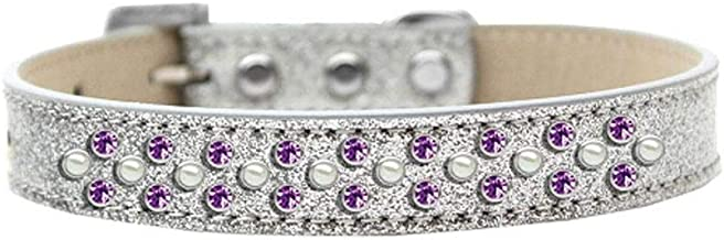 Mirage Pet Products Sprinkles Ice Cream Dog Collar Pearl And Purple Crystals Size 16 Silver