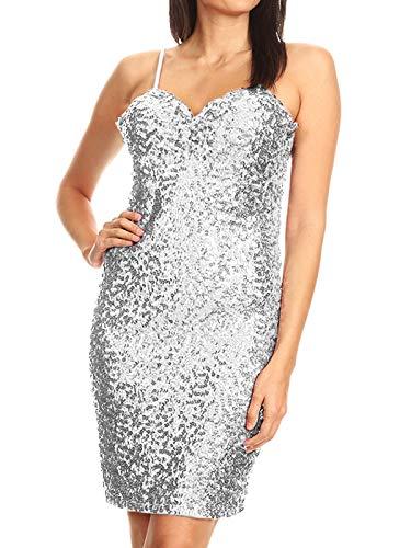 Anna-Kaci Women's Glitter Sequin Sleeveless Spaghetti Strap Club Party Mini Dress, Sliver, Small (Apparel)