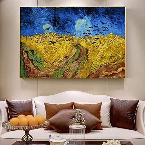 Crazystore Quadri su Tela 20x30 cm Senza Cornice Van Gogh Crows Riproduzioni di Quadri Famosi Stampe su Tela Immagine di Paesaggio per Soggiorno Decorazioni per la casa