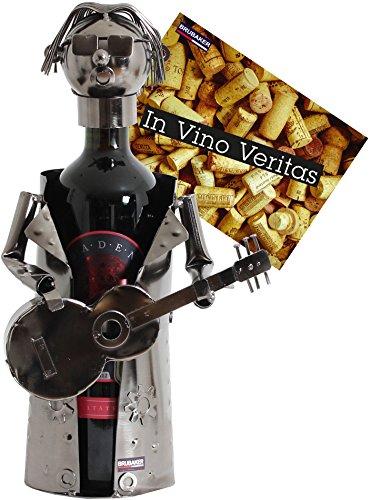 BRUBAKER Flaschenhalter Rockstar Guitarre Metall Skulptur Geschenk mit Geschenkkarte