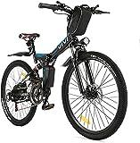 VIVI Velo Electrique Pliable, 26' VTT Électrique 250W Vélo Électrique Adulte avec Batterie Amovible 8Ah, Professionnel 21 Vitesses, Suspension Complète (Noir-Style 2)