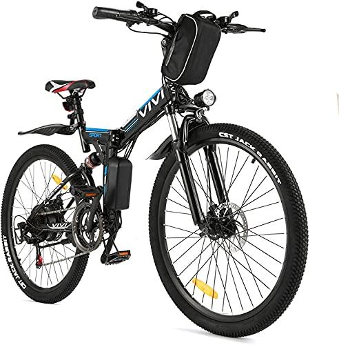 VIVI Velo Electrique Pliable, 26' VTT Électrique 250W Vélo Électrique Adulte avec Batterie Amovible 8Ah, Professionnel 21 Vitesses, Suspension Complète (Noir)