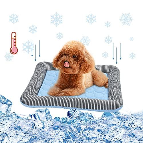 LUII Cama de perro gato con alfombra refrescante, verano, cojín fresco para perro, gato, sofá lavable, cesta antideslizante para perro pequeño cachorro gato #1 M 54 x 43 cm