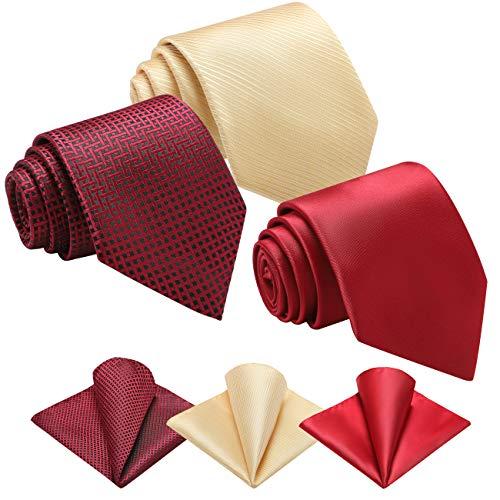 Vinlari Corbata Hombre Pañuelo Corbata Boda Conjunto Seda Pañuelo Negocio Elegante Estilo Casual Corbata(Rojo + Vino Rojo + Amarillo)