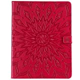 Yhuisen Sunflower Printing Design PU Leather Flip Wallet Tablet Case Cover for iPad Pro 12.9 inch (2018 Release, 3rd Generation) (Color : Red)