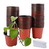 TSLBW 95 Piezas Macetas de Vivero para Plantas, Macetas de Semillas Suaves con Etiquetas Impermeables, Macetas de Plástico con Orificio para Plantas Suculentas Vegetales Frutas Plántulas