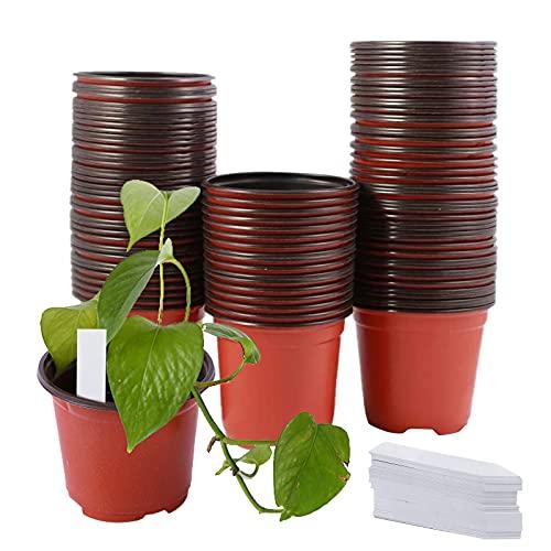 TSLBW 95 Vasi per Piante da Vivaio Vasi per Semi Morbidi con Etichette Impermeabili Vasi per Piante in Plastica con Foro per Piante Grasse Verdure Frutta Piantine Pianta da Fiori Contenitore