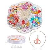 TOYANDONA Juego de Piedras Preciosas de Tesoro de Colores con 200 Piezas de Gemas de Plástico de Perlas de Imitación para Niña de Juguete Y Joyas de Vestir Diamantes con Accesorios de