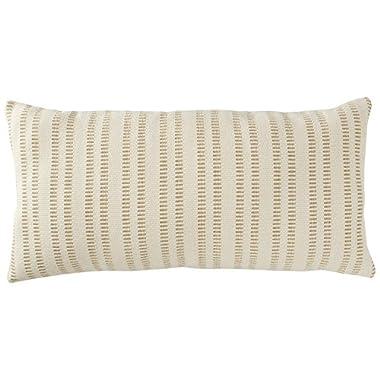 Stone & Beam French Laundry Stripe Pillow, 12  x 24 , Tan