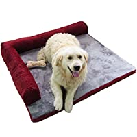 Pawstrip 縁取り枕 ペットベッド 洗い張りOK あったか ゴージャス 犬マット クッション (ワイン,S)