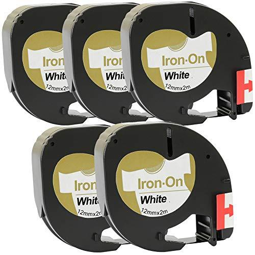 Prestige Cartridge 5 Kassetten Ersatz für Dymo 18769 S0718850 S0721660 schwarz auf weiß 12mm x 2m Stoffetiketten zum Aufbügeln Schriftband kompatibel für DYMO LetraTag LT-100H LT-100T LT-110T QX50 XR