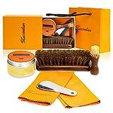 Kit de cirage et de brillance pour chaussures en cuir avec vernis neutre, brosses en poils de cheval, chiffon de polissage et chausse-pied.