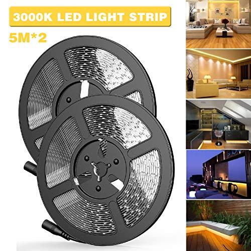 Tiras LED, 5M (16.4ft) * 2 SMD 2835 1200 LEDs 3000K Bright Blanco Cálido 12V LED Luces de Tiras, 120W y 10000lm LED Lights Strip para Sala de Estar, Cocina, Debajo del Gabinete