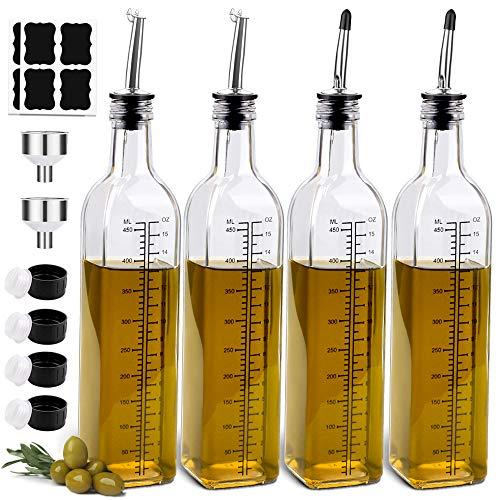 4 Pack 17oz Olive Oil Dispenser Bottle,Sungwoo,Oil and Vinegar Dispenser Set,Oil Bottles for Kitchen with Pourers and Funnel,Clear