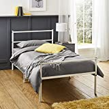 Extra Strong Single <span class='highlight'>Metal</span> Bed Frame In White