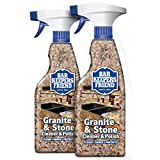 Bar Keepers Friend Granite & Stone Cleaner & Polish (25.4 oz) Granite Cleaner for Use on Natural, Manufactured & Polished Stone, Quartz, Silestone, Soapstone, Marble - Countertop Cleaner & Polish (2)