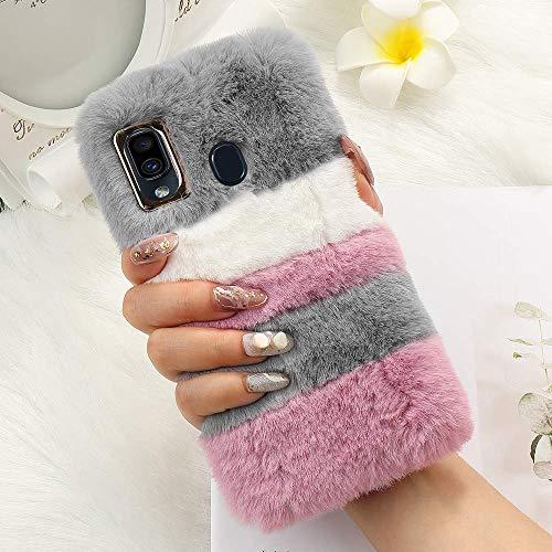 for Samsung Galaxy A20e, A10e Plush Case Cover, Cute Fuzzy Luxury Winter Soft Case Fluffy Faux Fur Case Stripe Stitching Colour Protective Silicon Back Bumper for Girls - Grey