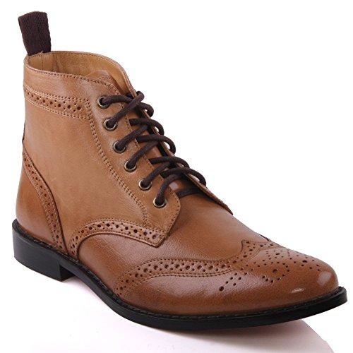 Unze Mens 'Taylor' Leather Boots Smart Formal Brogue Combat Lace Ankle Boots – M18155, Brown, 10 D(M) US