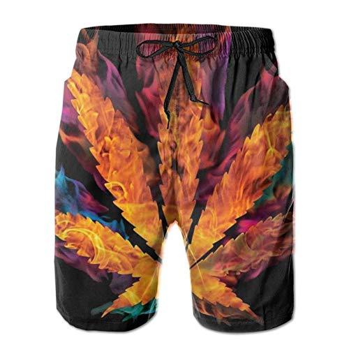 HARLEY BURTON Pantalones cortos de natación para hombre, marihuana, de secado rápido, para surf, playa, con cordón ajustable