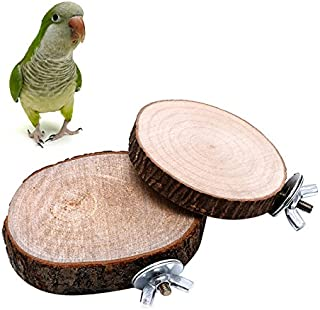 Qupida Parrot Stand Wooden Platform Board Toy Branch Perches for Pet Bird Cage