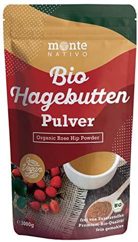 Bio Hagebuttenpulver 1kg (1000g) Monte Nativo - gemahlene Hagebutten - 100% Bio Hagebuttenmehl mit wertvollen Vitaminen und Mineralstoffen - aus kontrolliertem biologischen Anbau