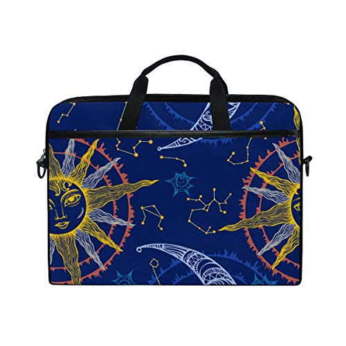 EZIOLY Sun And Moon Zodiac Laptop Shoulder Messenger Bag Case Sleeve for 13 Inch to 14 inch Laptop