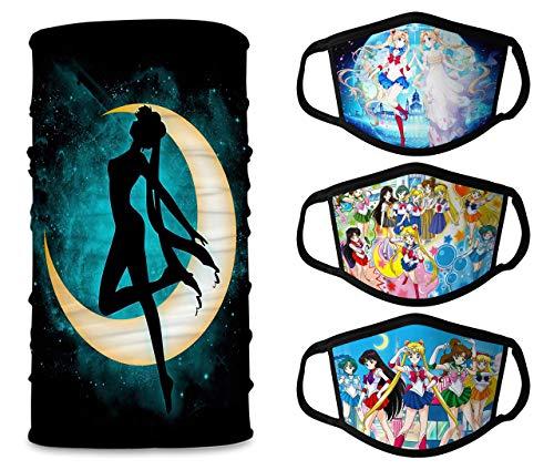 Japanese Anime Sailor Moon 3pcs Face Mask+1pcs Neck Gaiter Masks, Reusable Breathable Washable Balaclava Face Bandana Masks for Men and Women Made in USA