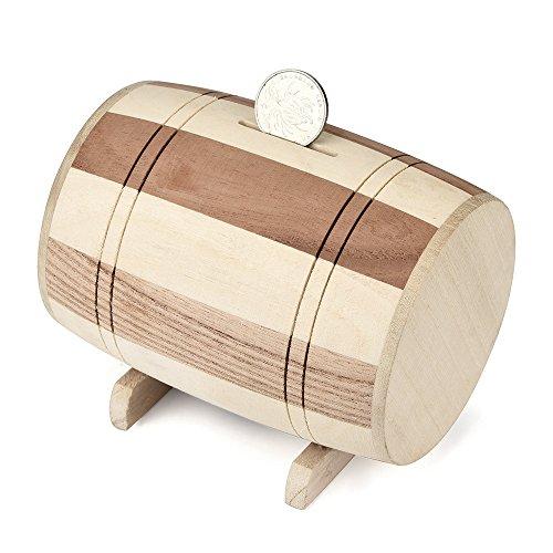 Makalon Holz Sparschwein Safe Spardose Einsparungen Weinfass Holzschnitzerei Handmade Einzigartige Geschenke Für Kinder Jungen Mädchen Und Erwachsene