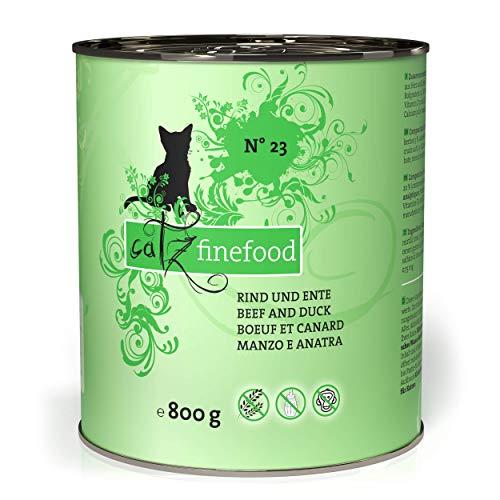 catz finefood N° 23 Rind & Ente Feinkost Katzenfutter nass, verfeinert mit Cranberry & Aloe Vera, 6 x 800g Dosen
