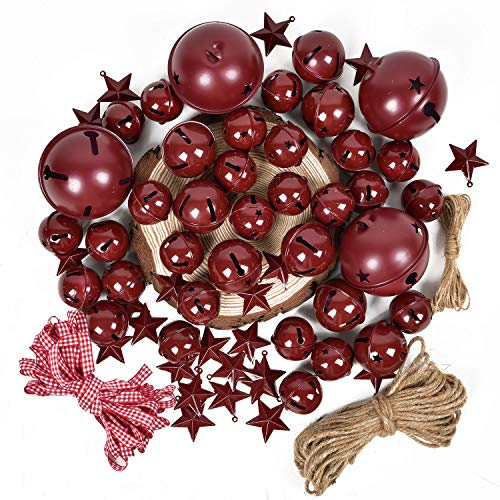 Lvydec 50pcs Burgundy Christmas Jingle Bells with Metal Barn Stars Christmas Metal Sleigh Bells Rustic Craft Bells for Christmas Tree Wreath Garland Ornaments Home Holiday DIY Decorations