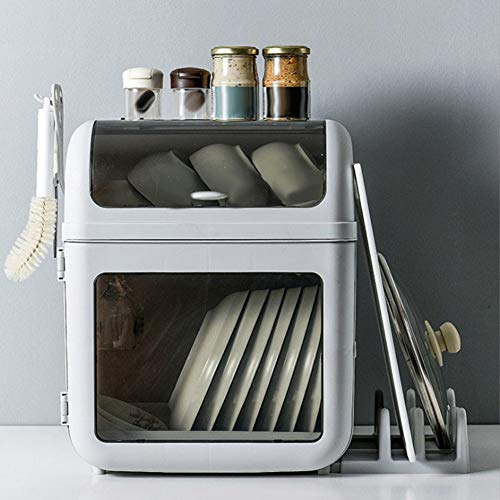 Multi-Functional Dish Drying Rack and Anti-ash Storage Box Cutlery Holder Dish Drainer Utensil Organizer
