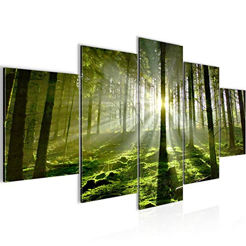 Runa Art - Cuadro Bosque paisaje 200 x 100 cm 5 Piezas XXL Decoracion de Pared Diseño Verde 602951a