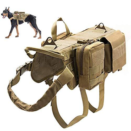 Taktische Hundeweste,K9 Hundegeschirr Military Patrol Hundegeschirr Anzug,Hundewesten Für Diensthunde Mit Wasserkocher Set Kleinteile Taschen Und Commuter Tasche,Braun,S