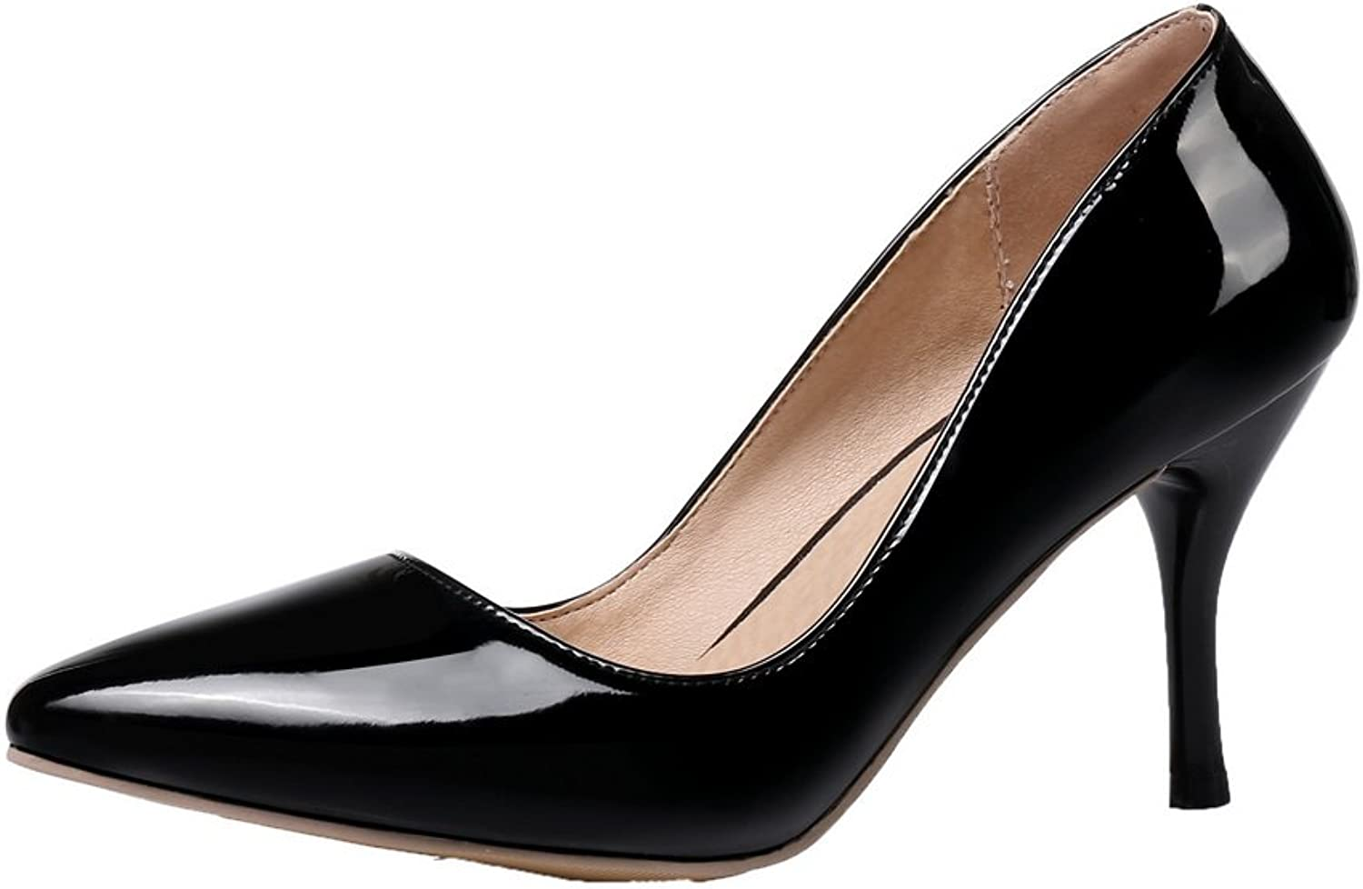 WeiPoot Women's Pull-On PU Closed-Toe High-Heels Solid Pumps-shoes