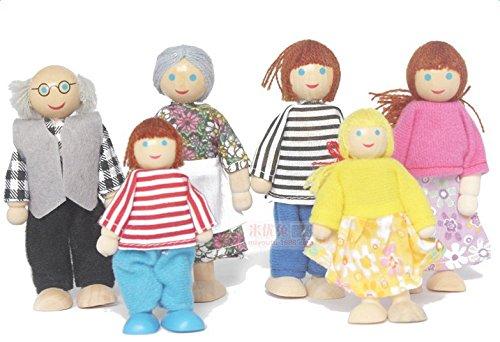 Vi.yo 6 pcs Muñecas de Madera Dibujos Animados de Marionetas de la Familia Juguetes Articulaciones Muñecas Historia Educativa Temprana Ayudas a la Enseñanza