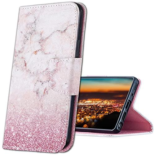 MRSTER Cover per Xiaomi Redmi Note 9, Moda Bello Custodia a Libro in Pelle PU Flip Portafoglio Custodia Shockproof Resistente Case per Xiaomi Redmi Note 9. HX Pink Marble