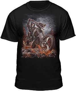 Grim Reaper Goth Biker Rock Flames Skull Motorcycle T-Shirt